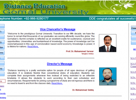 Official web portal (Learning Management System) of Distance Education Gomal University, D.I Khan registered and Hosted by MADAAR Technologies, Pakistan's No.1 Web Hosting Service Provider.
