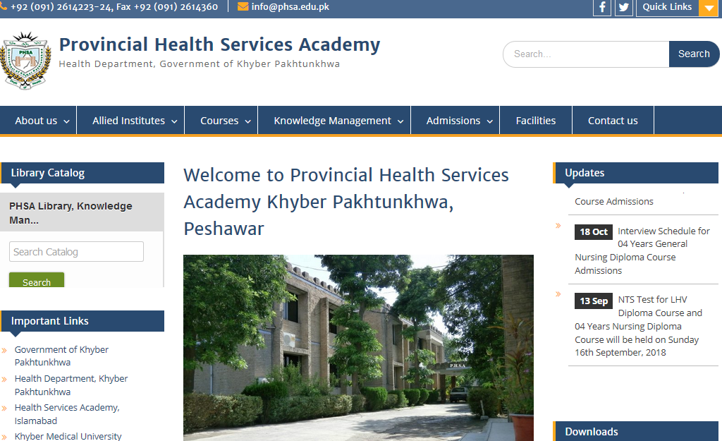 Provincial Health Services Academy Khyber Pakhtunkhwa, Peshawar